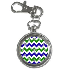 Blue And Green Chevron Pattern Key Chain Watches by Jojostore