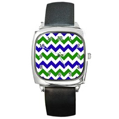 Blue And Green Chevron Pattern Square Metal Watch by Jojostore