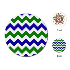 Blue And Green Chevron Pattern Playing Cards (round)  by Jojostore