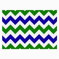 Blue And Green Chevron Pattern Large Glasses Cloth by Jojostore