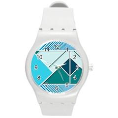 Logo Concept Banner Header Idea Round Plastic Sport Watch (m) by Amaryn4rt