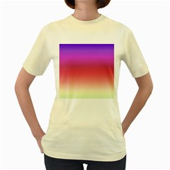Blue Pink Purple Red Women s Yellow T Shirt by Jojostore