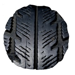 Mature Black Auto Altreifen Rubber Pattern Texture Car Large 18  Premium Round Cushions