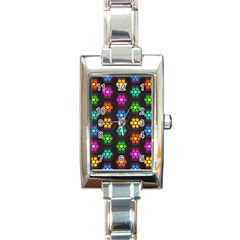 Pattern Background Colorful Design Rectangle Italian Charm Watch