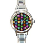 Pattern Background Colorful Design Round Italian Charm Watch