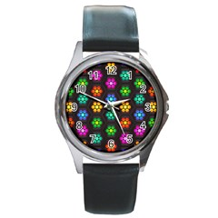 Pattern Background Colorful Design Round Metal Watch