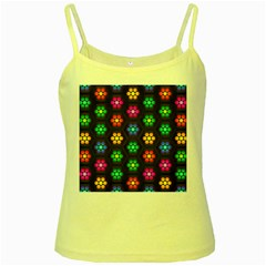 Pattern Background Colorful Design Yellow Spaghetti Tank
