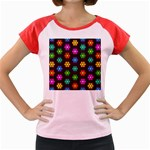Pattern Background Colorful Design Women s Cap Sleeve T-Shirt