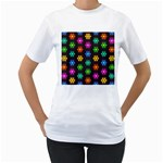 Pattern Background Colorful Design Women s T-Shirt (White) (Two Sided)