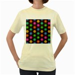 Pattern Background Colorful Design Women s Yellow T-Shirt