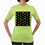 Pattern Background Colorful Design Women s Green T-Shirt