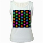 Pattern Background Colorful Design Women s White Tank Top