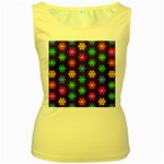 Pattern Background Colorful Design Women s Yellow Tank Top