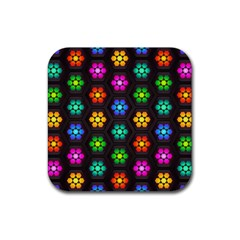 Pattern Background Colorful Design Rubber Square Coaster (4 pack)