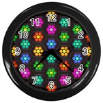 Pattern Background Colorful Design Wall Clocks (Black)