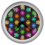 Pattern Background Colorful Design Wall Clocks (Silver)