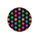 Pattern Background Colorful Design Rubber Round Coaster (4 pack)