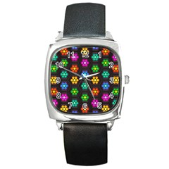 Pattern Background Colorful Design Square Metal Watch