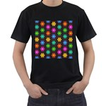 Pattern Background Colorful Design Men s T-Shirt (Black) (Two Sided)