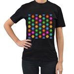 Pattern Background Colorful Design Women s T-Shirt (Black) (Two Sided)