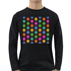 Pattern Background Colorful Design Long Sleeve Dark T-Shirts