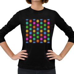 Pattern Background Colorful Design Women s Long Sleeve Dark T-Shirts