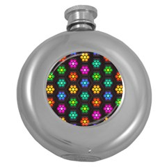 Pattern Background Colorful Design Round Hip Flask (5 oz)