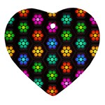 Pattern Background Colorful Design Heart Ornament (2 Sides)