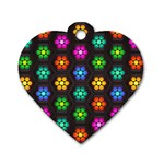 Pattern Background Colorful Design Dog Tag Heart (Two Sides)