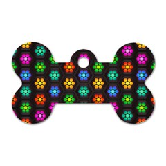 Pattern Background Colorful Design Dog Tag Bone (Two Sides)
