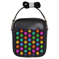 Pattern Background Colorful Design Girls Sling Bags