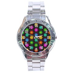 Pattern Background Colorful Design Stainless Steel Analogue Watch