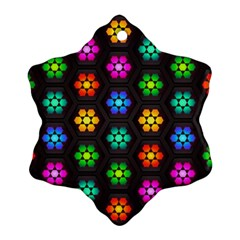Pattern Background Colorful Design Snowflake Ornament (2-Side)