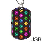 Pattern Background Colorful Design Dog Tag USB Flash (One Side)