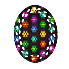 Pattern Background Colorful Design Oval Filigree Ornament (2-Side)
