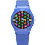 Pattern Background Colorful Design Round Plastic Sport Watch (S)
