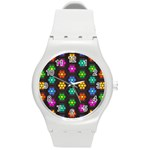 Pattern Background Colorful Design Round Plastic Sport Watch (M)