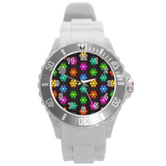 Pattern Background Colorful Design Round Plastic Sport Watch (L)