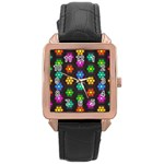 Pattern Background Colorful Design Rose Gold Leather Watch
