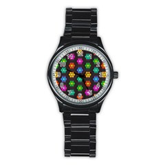 Pattern Background Colorful Design Stainless Steel Round Watch