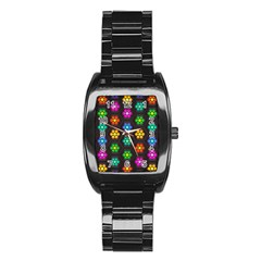 Pattern Background Colorful Design Stainless Steel Barrel Watch