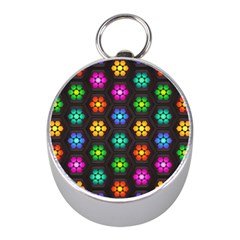 Pattern Background Colorful Design Mini Silver Compasses