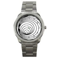 Spiral Eddy Route Symbol Bent Sport Metal Watch by Amaryn4rt
