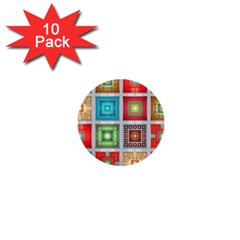 Tiles Pattern Background Colorful 1  Mini Buttons (10 Pack)  by Amaryn4rt