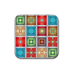 Tiles Pattern Background Colorful Rubber Square Coaster (4 Pack)  by Amaryn4rt