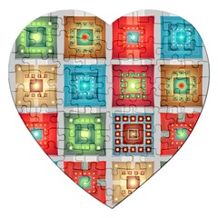 Tiles Pattern Background Colorful Jigsaw Puzzle (heart) by Amaryn4rt