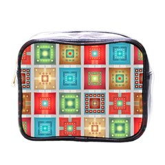 Tiles Pattern Background Colorful Mini Toiletries Bags by Amaryn4rt