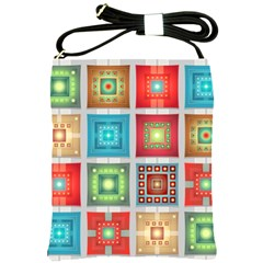 Tiles Pattern Background Colorful Shoulder Sling Bags by Amaryn4rt