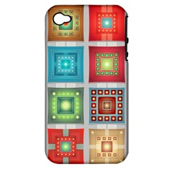 Tiles Pattern Background Colorful Apple Iphone 4/4s Hardshell Case (pc+silicone)