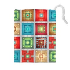 Tiles Pattern Background Colorful Drawstring Pouches (extra Large) by Amaryn4rt